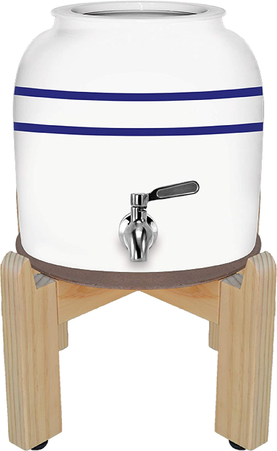 Geo Sports Porcelain Crock Water Dispenser with 8 Inch Wood Stand, Ceramic Lid and Stainless Steel Spigot Included (Blue Stripe)