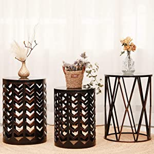 Multifunctional Nesting Round Metal Coffee End Tables, Set of 3 Modern Furniture Nightstands Decor Side Tables Plant Stand for Home Office Indoor Garden Outdoor- Black with Bronze prush (Ship from US)