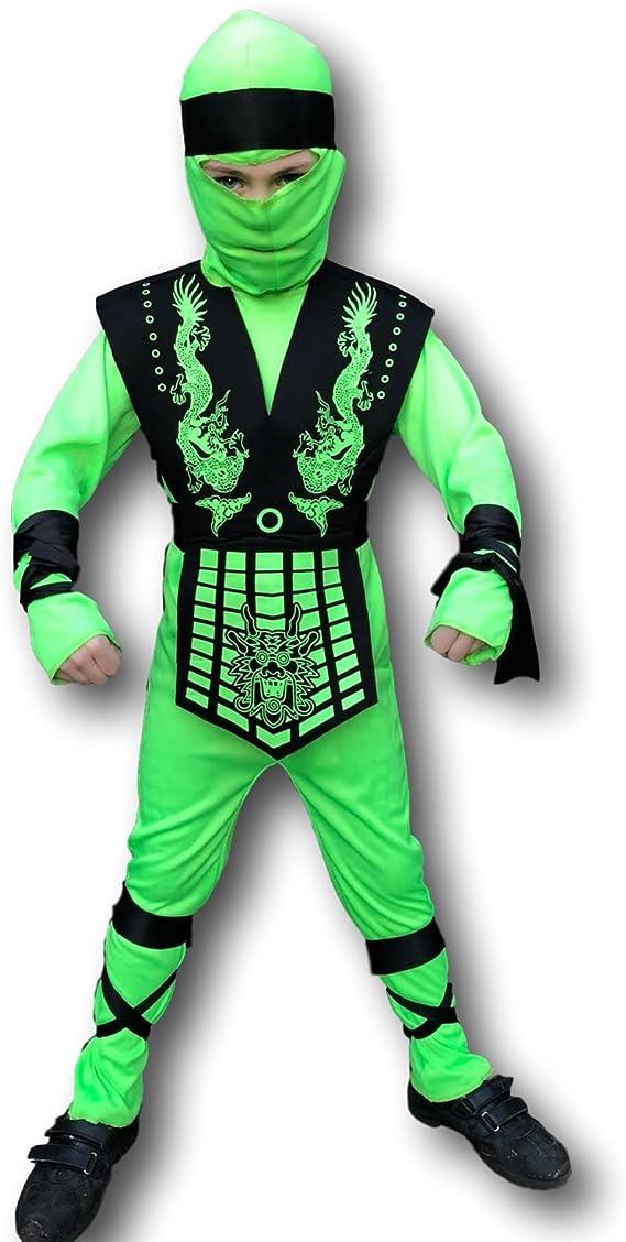 Rubber Johnnies Grasshopper Ninja Costume, Kids, 3 Sizes Neon Green