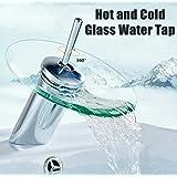 KITCHENEXP Bathroom Waterfall Glass Basin Tap Faucet Mixer (Hot & Cold Water)SINGLE LIVER WASH BASIN MIXER