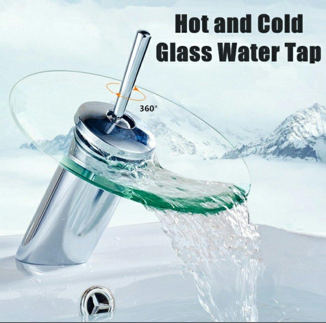 KITCHENEXP Bathroom Waterfall Glass Basin Tap Faucet Mixer (Hot ...