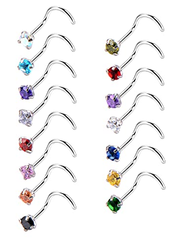 20 Gauge 15 Pieces Curved Nose Rings Stainless Steel Nose Studs Cubic Zirconia Screw Piercing Body Jewelry 15 Colors