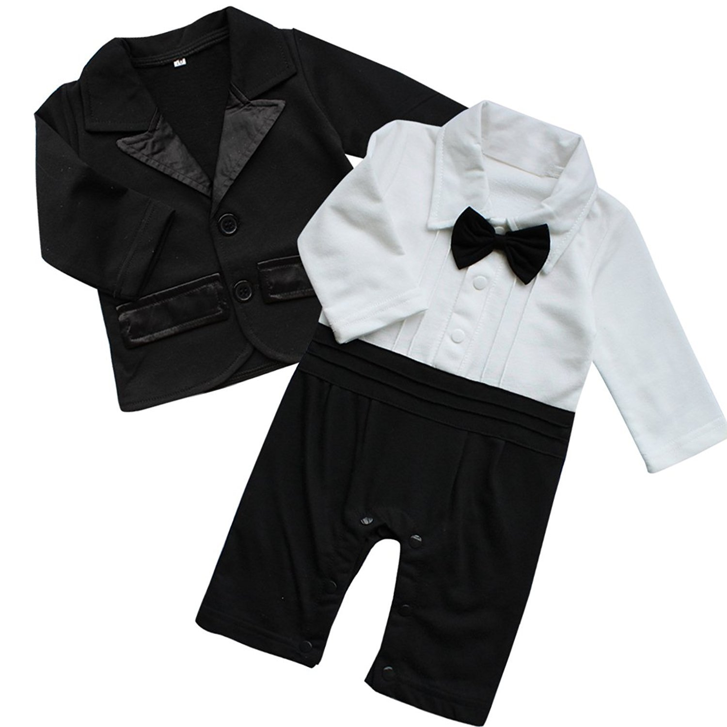 Baby Boy Jumpsuit, 2Pcs Long Sleeve Toddler Tuxedo Gentleman Clothes Outfit with Bowtie & Coat