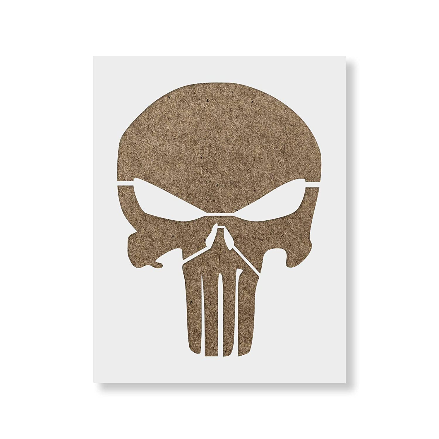 Punisher Skull Stencil Template - Reusable Stencil with Multiple Sizes Available Stencil Revolution