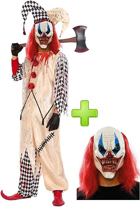 Disfraz de Payaso Asesino Arlequin con mascara: Amazon.es: Ropa y ...