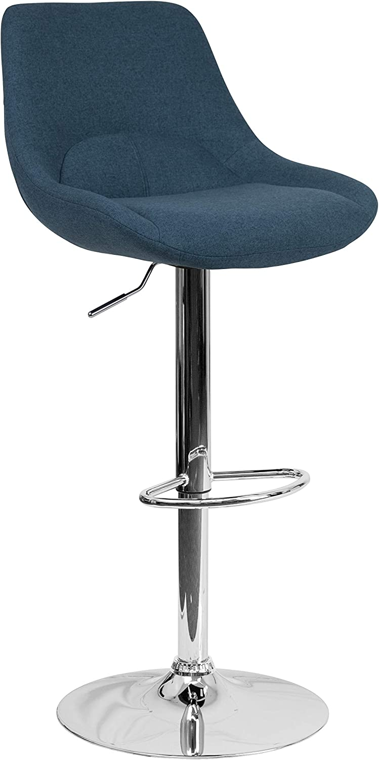 Flash Furniture Contemporary Blue Fabric Adjustable Height Barstool with Chrome Base