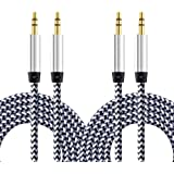 Aux Cable, CableLovers 2 Pack 5FT Nylon Braided Hi-Fi Sound Quality Audio Cable 3.5MM Male to Male Auxiliary Audio Cord for Car Stereos, iPhone, iPad, Beats Solo 2 3 Headphones, Samsung Galaxy