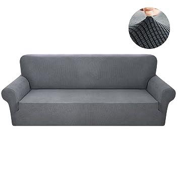 Interlink Uk Sofabezug Sofahusse 3 Sitzer Elastisch Stretch Jacquard Aus Rutschfest Material Elegant Grau 3 Sitzer 185 230cm