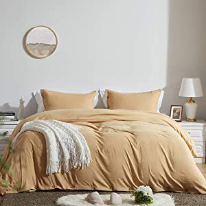 SunStyle Home Duvet Cover Set Queen Size with Buttons Closure-Light Brown Washed 100% Microfiber,3 Pieces Solid Color Ultra Soft Skin-Friendly Luxurious Bedding Set,(1 Duvet Cover +2 Pillowcases)