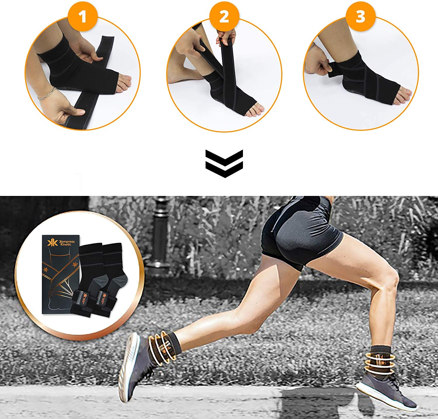 Kompress Kinetic Compression Socks with Copper Fiber Alleviates Chronic Foot Ankle Pain