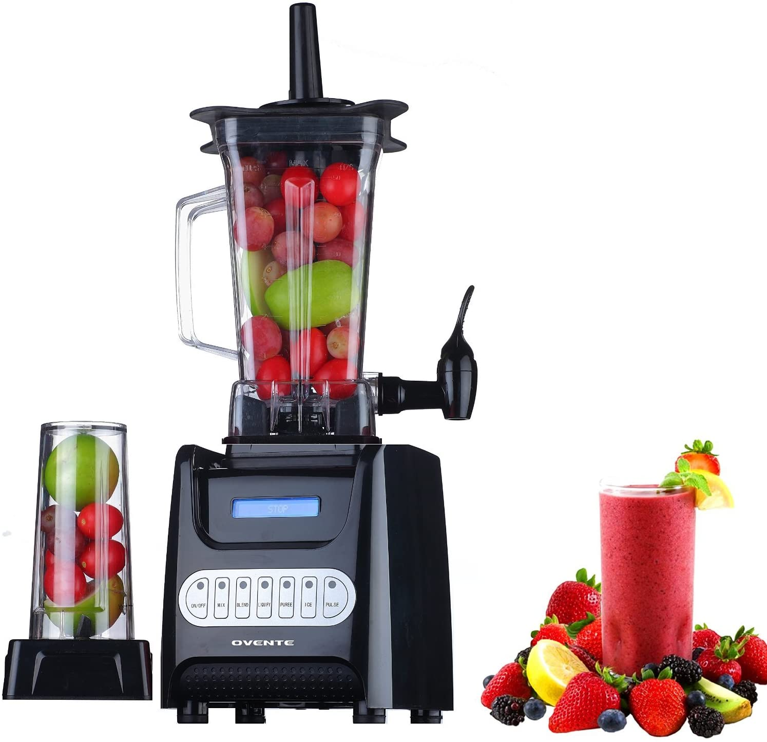 Ovente Professional Countertop Blender with Dispenser and Extra 13.5 Ounces BPA-Free Blender Cup for Smoothie, Protein Shakes, and Puree Baby Food, 1000 Watts Base, Multi Speed, Black (BLH1000B)