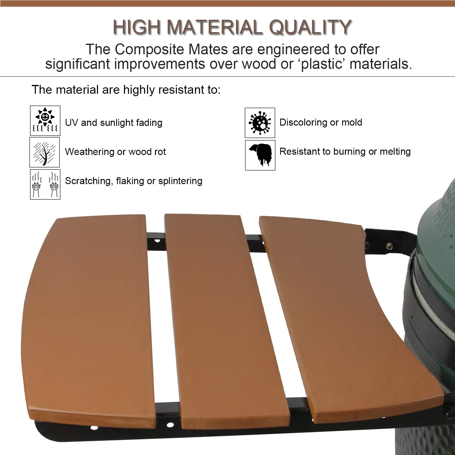 KAMaster 3 Slat Big Green Egg Side Shelves for Large BGE Egg Mates Outdoor Storage Table Composite Kamado Grill Accessories HDPE Big Green Egg Accessories by KAMaster (Image #4)