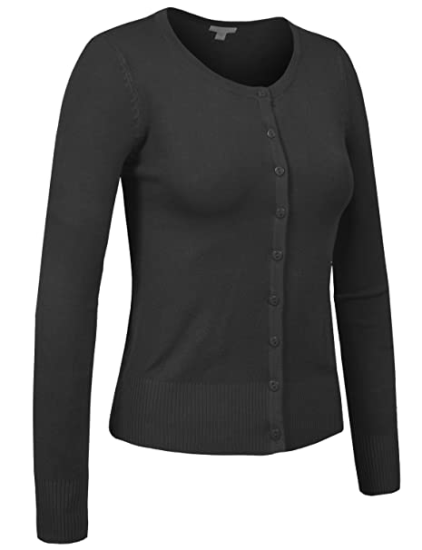 81306b380e J. LOVNY Womens Basic Casual Light Scoop Neck Button Down Cardigan Sweater  S-3XL