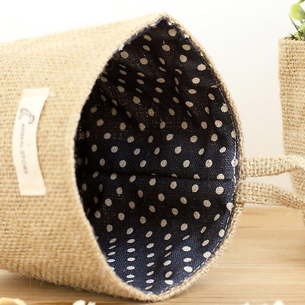 Msyou Small Linen Storage Bag Hanging Organizer portaoggetti per giocattolo cancelleria ufficio scrivania casa bagno 14 12.5cm #4