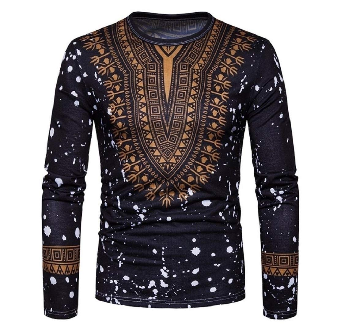 Doufine Mens African Print Dashiki Slim Folk Style Tops Fashion T Shirts Black S