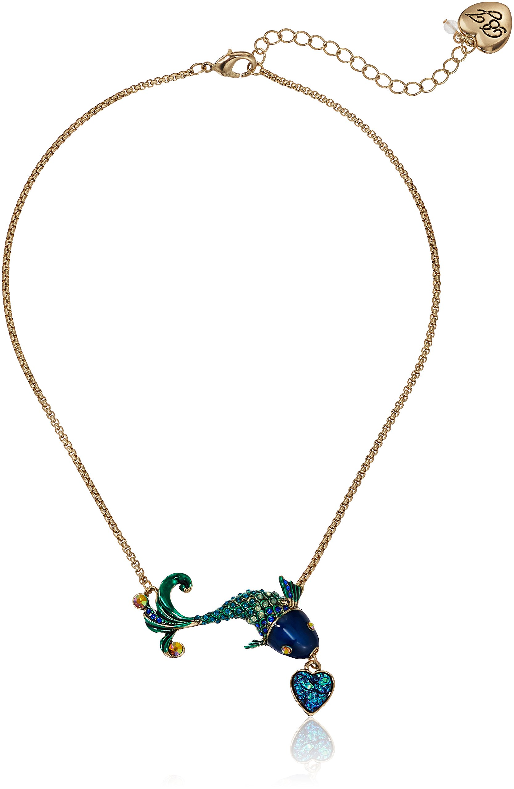 Betsey Johnson Women's Crabby Couture Blue Fish Pendant Necklace, One Size