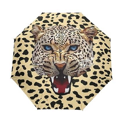 bennigiry blanco guepardo Jaguar automático 3 plegable sombrilla sol protección Anti-UV paraguas para mujeres