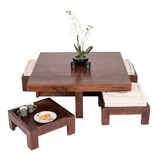 Homescapes Large Dakota Piece Coffee Table Set With Matching - Coffee table with stools