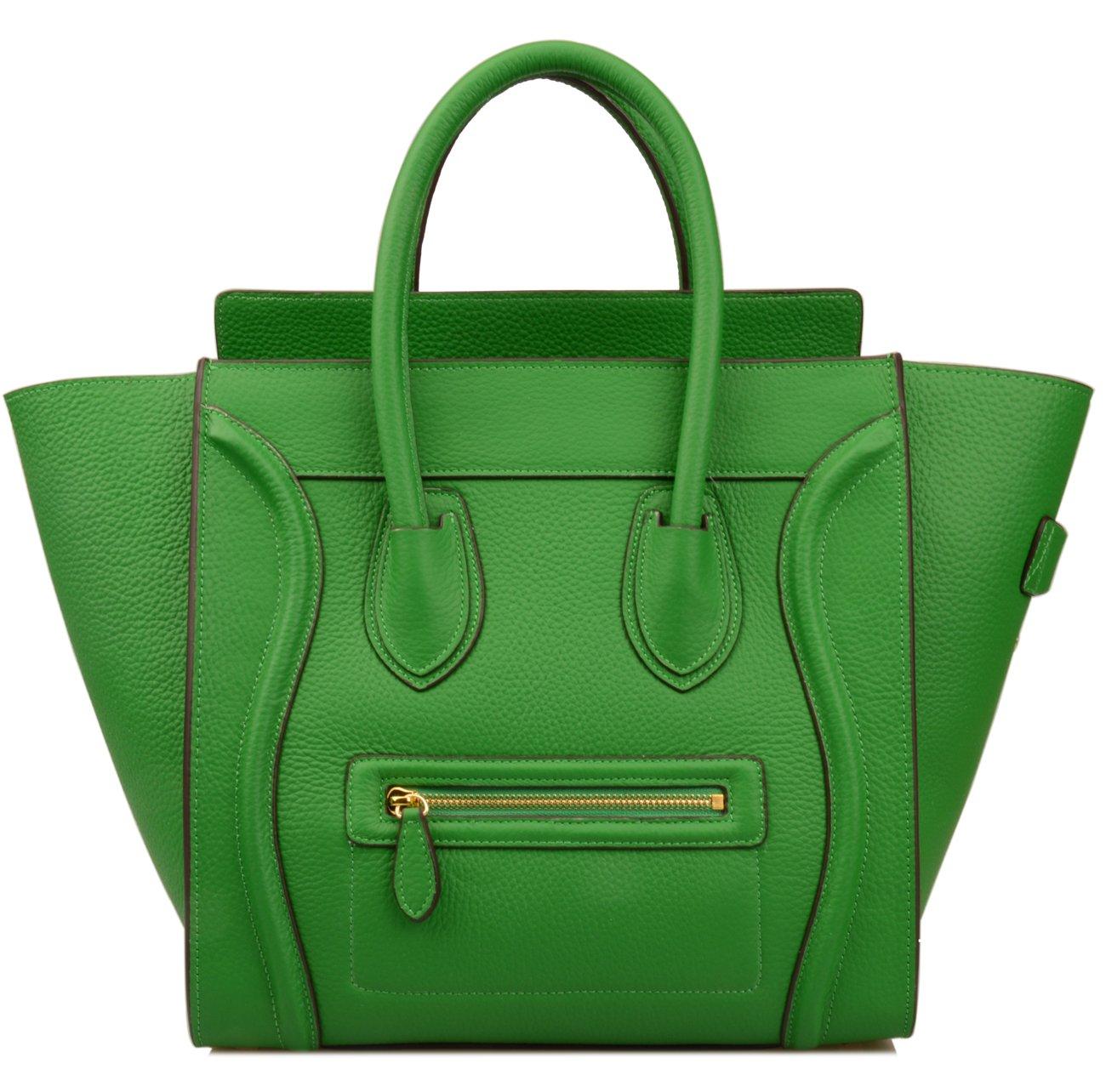 Ainifeel Women's Genuine Leather Smile Large Top Handle Handbag Purse (Large, Bamboo green)