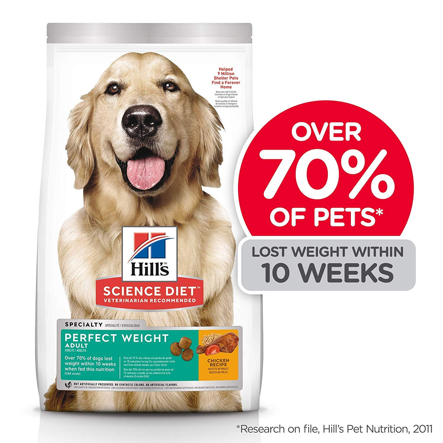 Hill's Science Diet Dry Dog Food, Adult, Perfect Weight for Healthy Weight & Weight Management, Chicken Recipe, 28.5 lb Bag by Hill's Science Diet