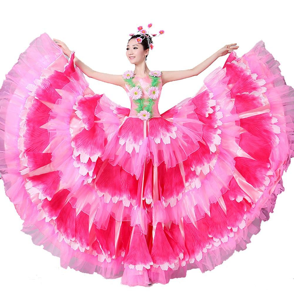 Rose skirt 180 Wgwioo Robe De Flamenco pour Femme Adulte 180 360 540 720 Foulards en Devert Jupe Costumes De Perforhommece Ouverture Danse Floraison Florissante Big Swing Chorus XL