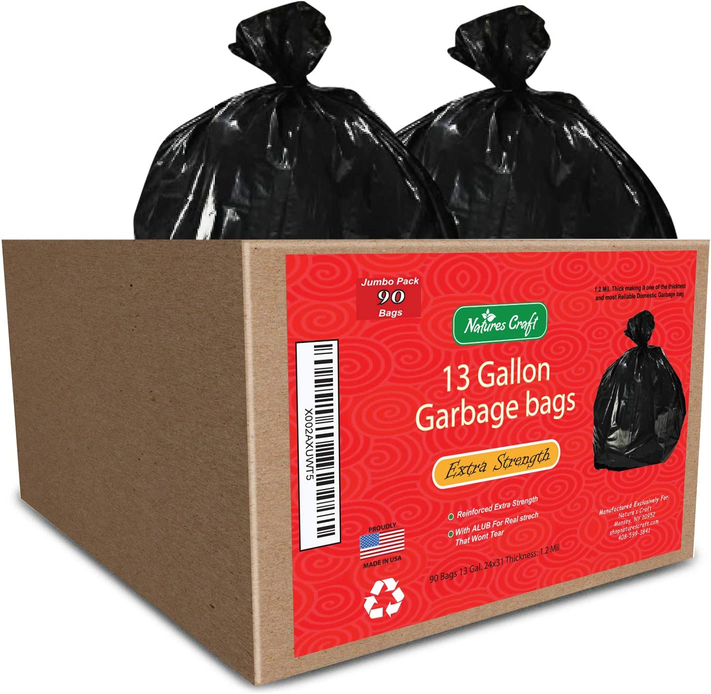 13 gallon Durable Trash Bags - Hefty + Flex - For Kitchen, Cars, Bathroom and Home Use - Rip + Tear Resistant - USA made by Natures Craft