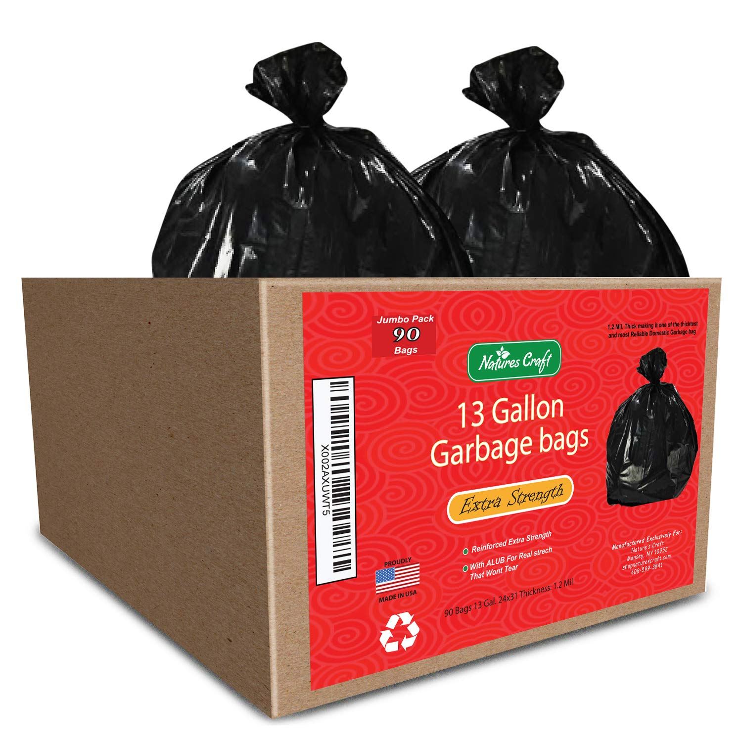 13 gallon Durable Trash Bags - Hefty + Flex - For Kitchen, Cars, Bathroom and Home Use - Rip + Tear Resistant - USA made by California Products product image