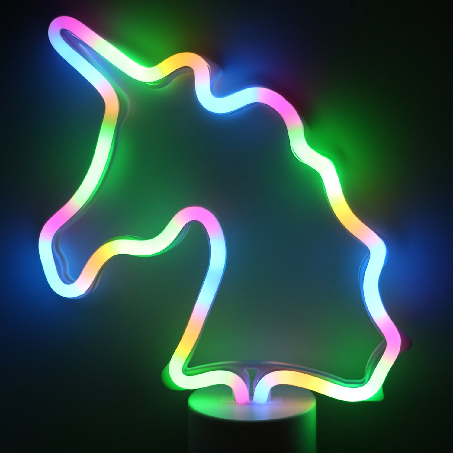 LED Unicorn Neon Light Signs - Room Decor Colour Unicorn Lights with Pedestal Night Lights Battery Operated Bedside and Table Lamps Neon Signs for Home Decoration