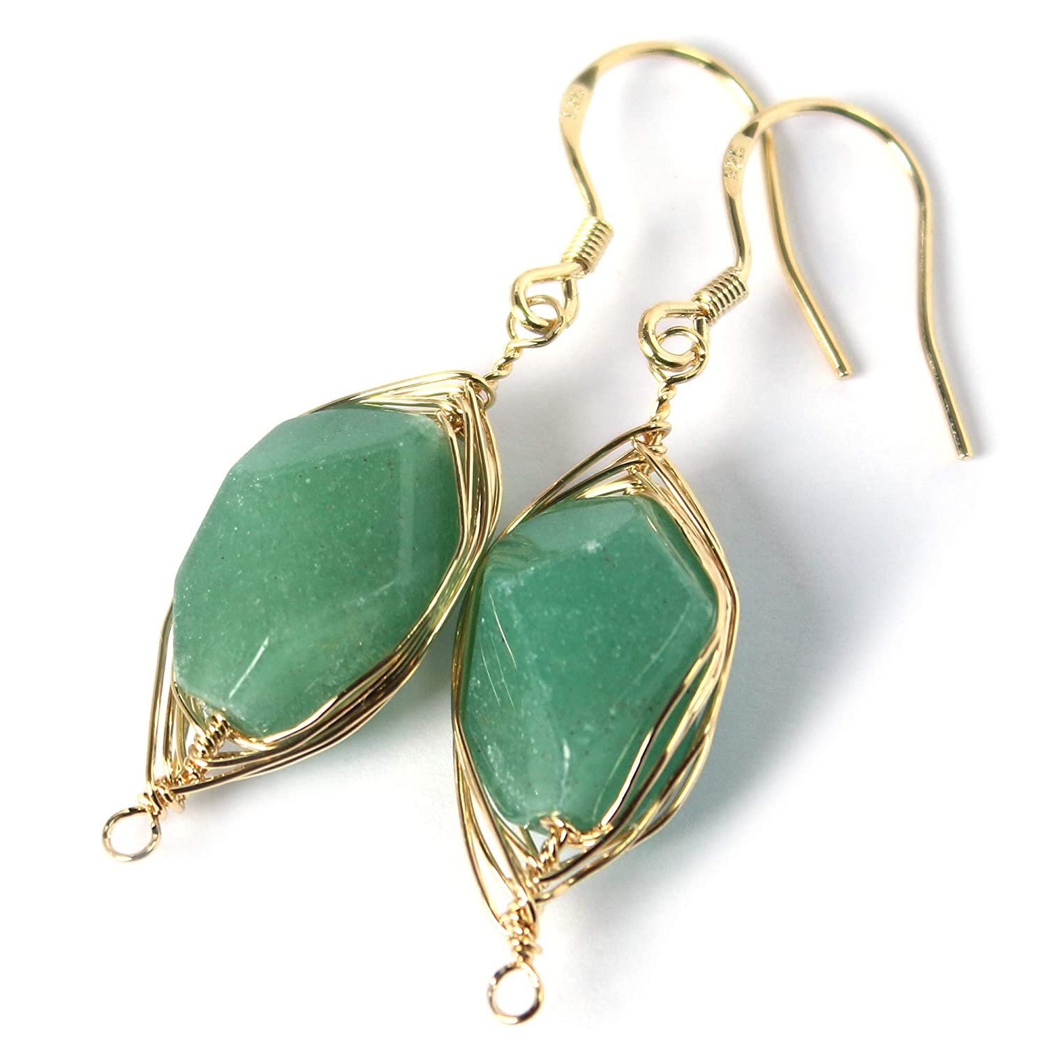 Natural Stone Wire Wrap Dangle Drop Earrings Gold Plated 925 Sterling Silver Hook//Aventurine Raw Cut