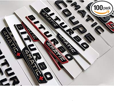 Gloss Black C63 AMG V8 BITURBO Trunk Fender Badge Emblems for Benz W205