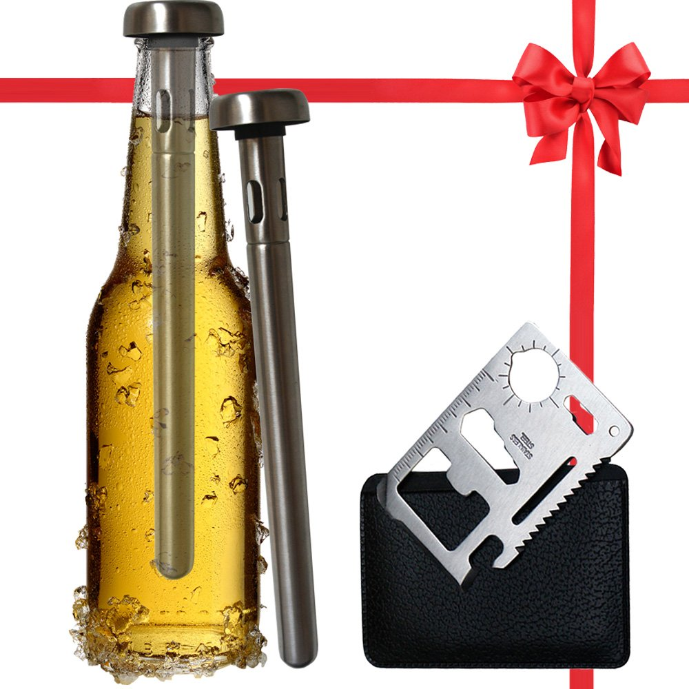 Best Beer Chiller Stick Pack of 2 - Bottle Opener Gift Included - Top Single Cooler Stainless Steel Accessories - Are Your Dad, Boyfriend, Men Beer Lovers - Unique Practical Gift for Beer Drinkers