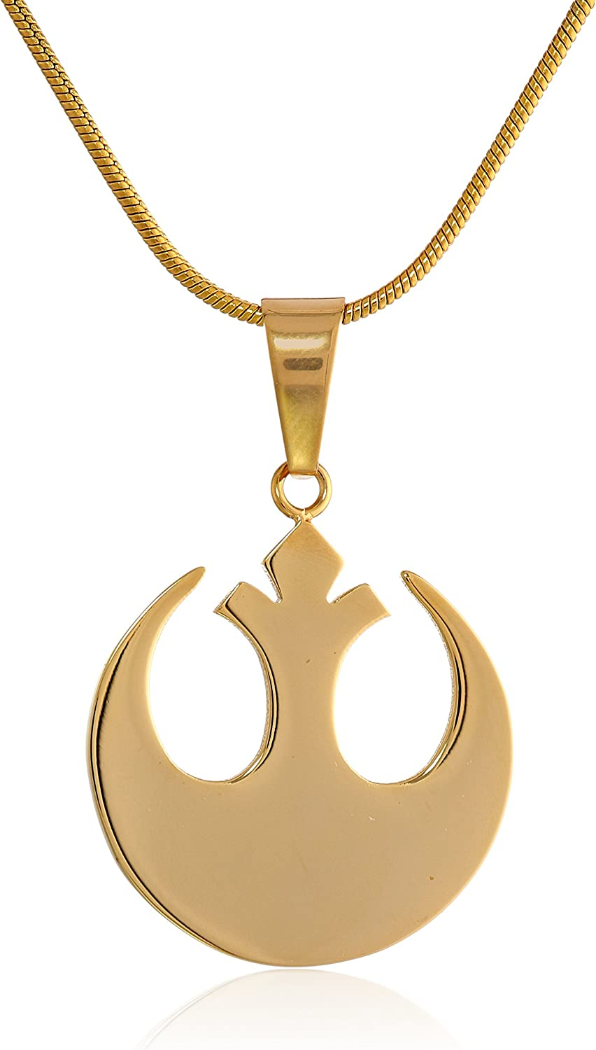 Star Wars Jewelry Unisex Rebel Alliance Stainless Steel Gold IP Small Chain Pendant Necklace (SALES1SWMD)