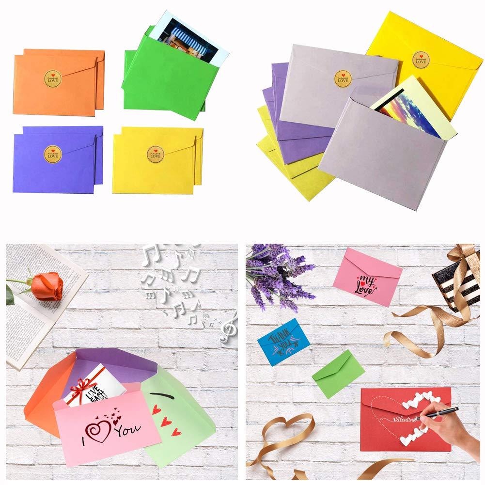 Mini Enveloppes, INTVN 120 Pièces Multi Couleur Enveloppes Petite Mignon Enveloppes avec 120 Pièces Rond Kraft Autocollants pour Mariage Fournitures de Fête ...