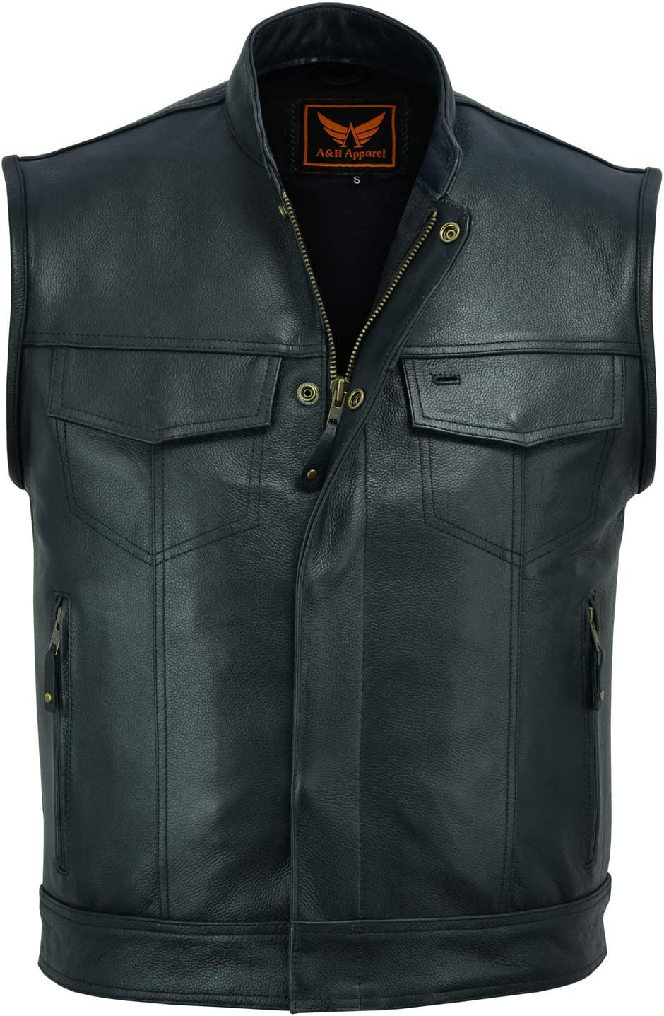 Womens Motorcycle Leather Vest Genuine Cowhide Leather Black Concealed Carry 032