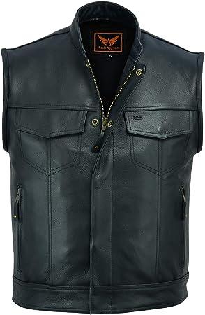 Small A/&H Apparel Mens Genuine Cowhide Leather Vest Biker Vest Concealed Carry Durable Vest