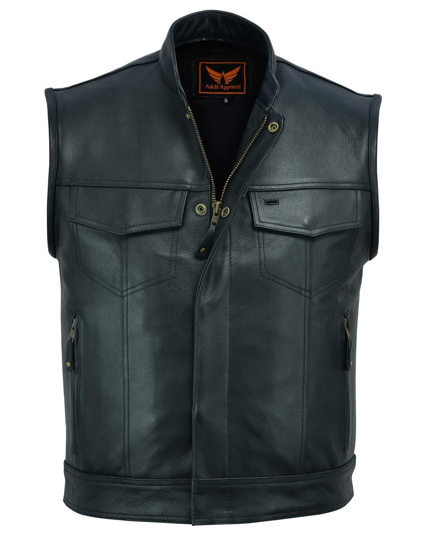 A&H Apparel Mens Genuine Cowhide Leather Vest Biker Vest Concealed Carry Durable Vest (Small)
