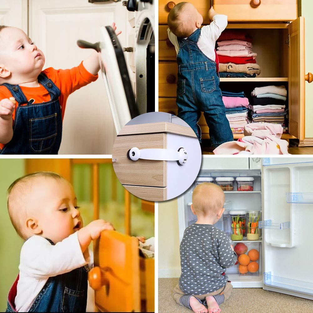 Closet Door 6 Pcs Baby Proof Locks No Screws Child Locks with 3M Adhesive Stick On Cabinets Children Proof Latches for Kitchen Drawer Refrigerator Vicloon Child Safety Cupboard Locks Brown