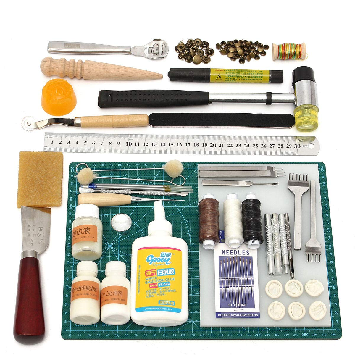Leather Craft Tool Kit Leather Hand Sewing Tool Punch Cutter DIY Set by Anddoa (Image #1)