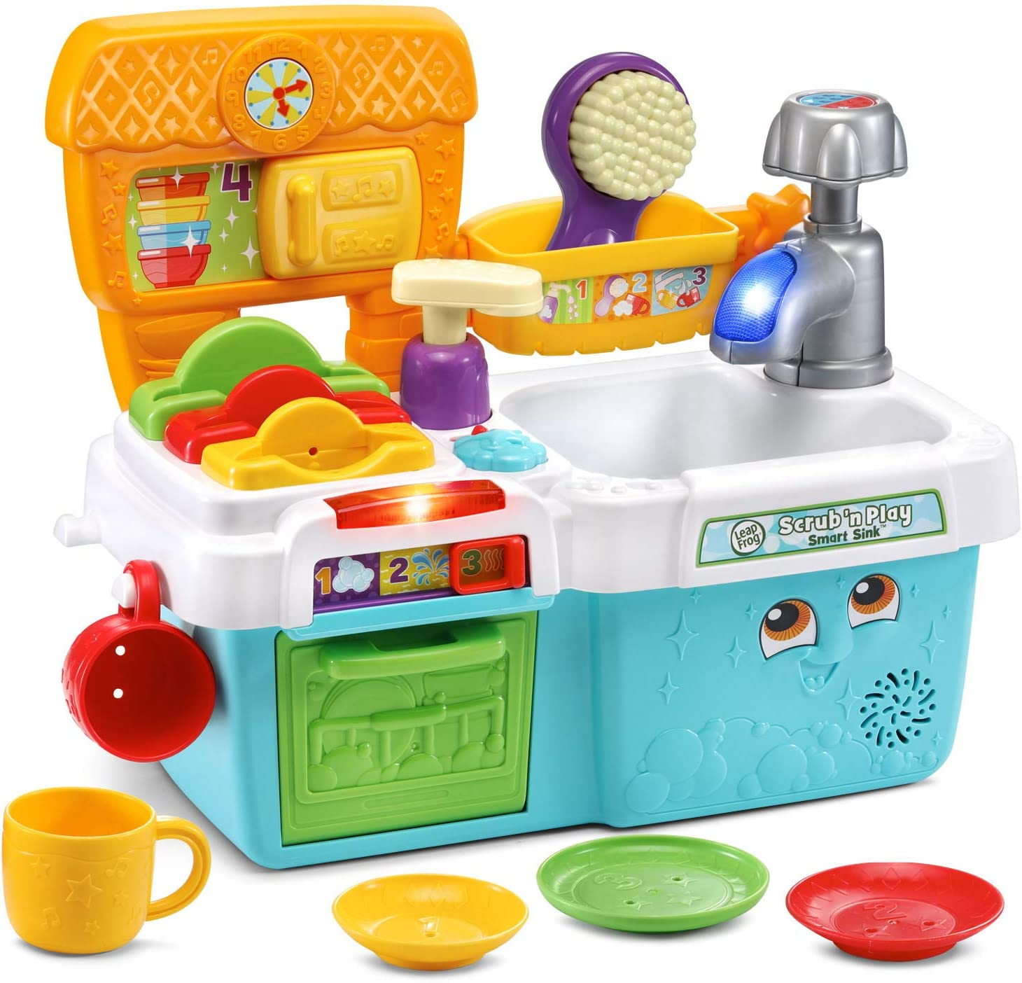 LeapFrog Scrub 'n Play Smart Sink: Soak up fun and learning with the Scrub 'n Play Smart Sink™. Pretend to wash the dishes in the sink and count from one to ten by adding the pretend soap. Learn about colors and sizes when matching the plates to their slots in the drying rack. Load up the dishwasher and choose the cycle. One, two, three! Hear fun responses when opening and closing the door. Practice following directions by pressing the star activity button to get some clean-up suggestions. Wash the green plate! Water sounds make clean-up time feel real. Everything stores neatly when playtime is done. This toy contains electronics and is not a water toy.
