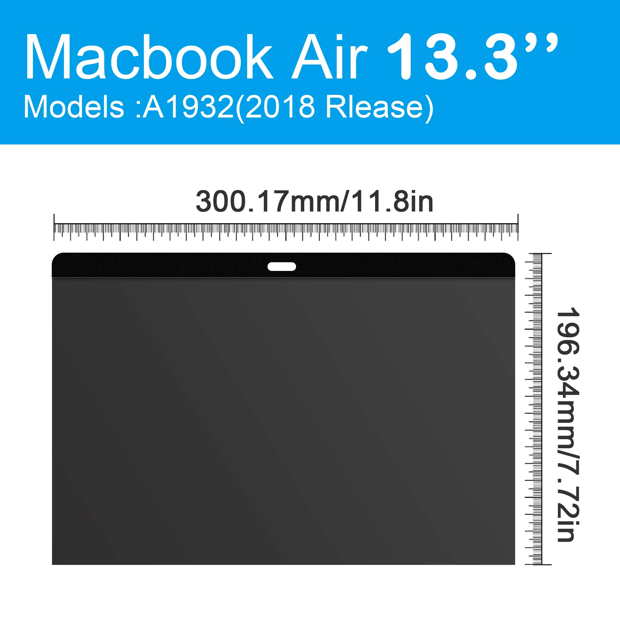 Magnetic Privacy Screen for MacBook Air 13.3 Inch (Mode :A1932 Release 2018,Easy On/Off and Ultra Slim,Anti-Scratch/Glare Protector Film for Data confidentiality by MOBILO (Image #6)