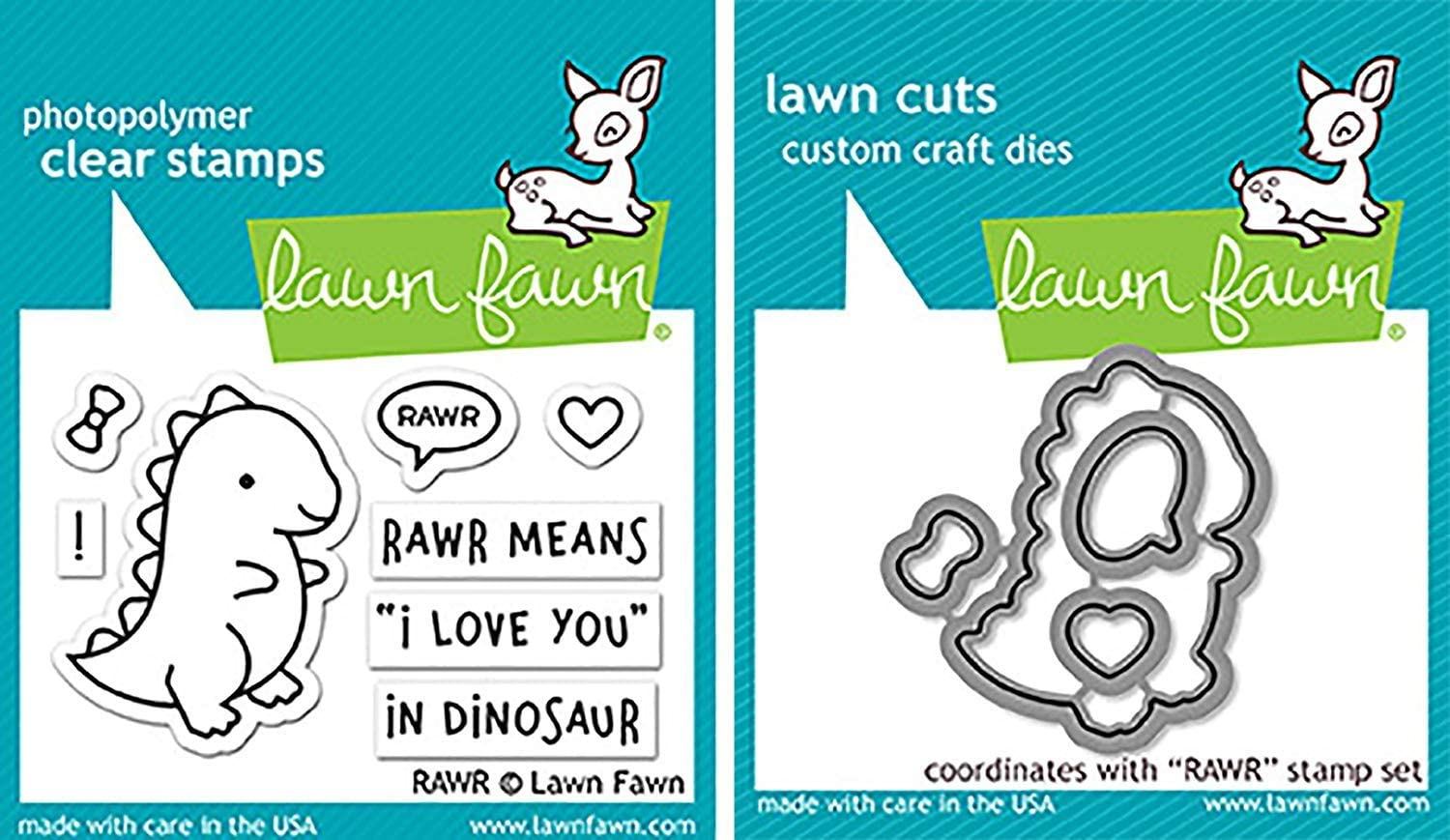 Lawn Fawn RAWR Clear Stamps and Dies Bundle LF1555 LF1556 (Set of 2 Items)