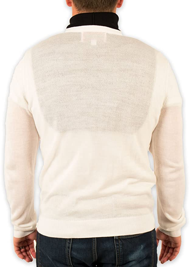 Mens Redneck Cousin V Neck White Sweater With Black Dickey At