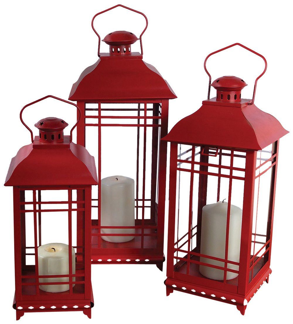 Christmas Tablescape Décor - Red multi-sized mission-style metal and glass pillar candle lanterns - Set of 3 by Melrose International