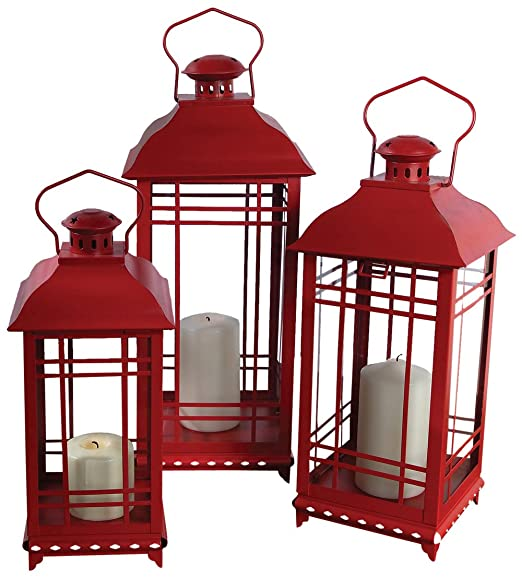 Christmas Tablescape Decor - Red Metal and Glass Lantern - Set of 3 by Melrose International