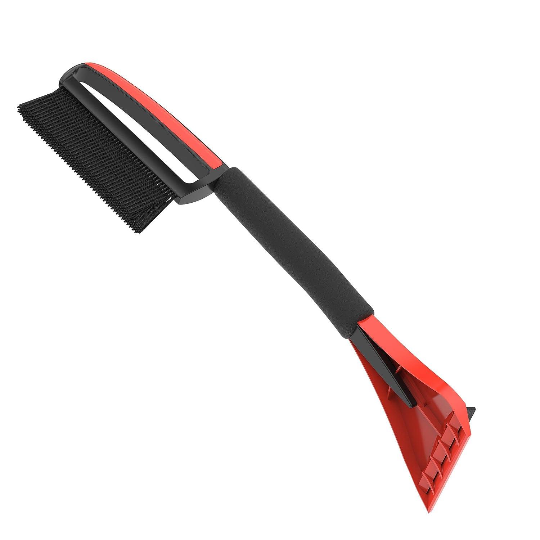 AUPROTEC Schneebesen mit Eiskratzer 2in1 mit Komfort Soft Griff Rutschfest ASE 1 schwarz-rot