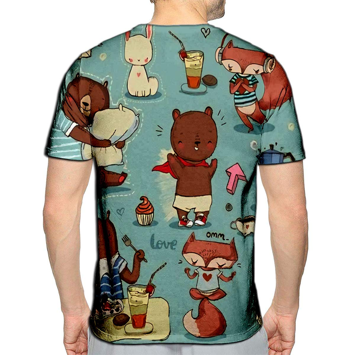 YILINGER 3D Printed T-Shirts Abstract Geometric with Animal Print and Circles Short Sleeve Tops Tees