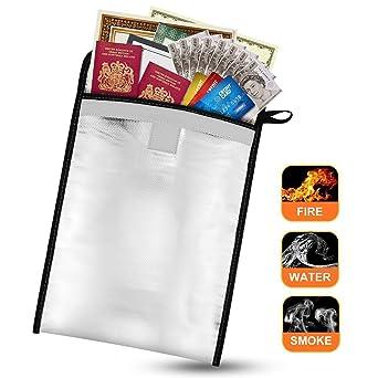 Ignífugo Bolsa de Documento Bolsa de Almacenamiento, Impermeable Saco para Documento, Foto, Pasaporte, Dinero, Tarjeta, Joyas, Resistente al agua y al ...