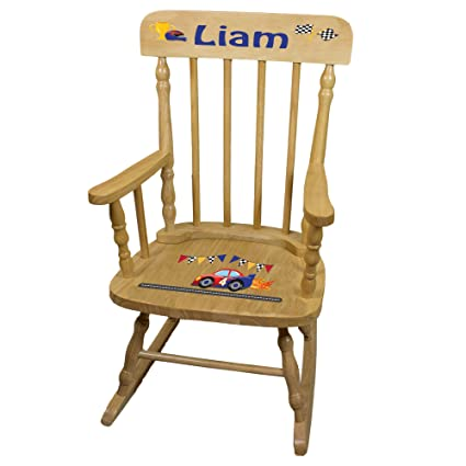 Attrayant Personalized Race Cars Wooden Childrens Rocking Chair