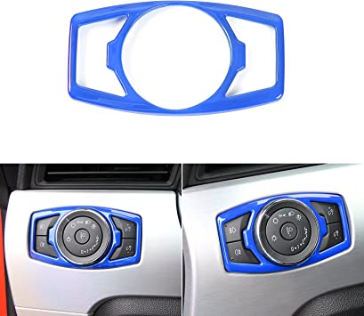 Blue Aluminum alloy Car Headlight Switch Cover Trim,Car Interior,Air Conditioner Switch Decorative Cover Trim for Ford mustang 2015-2016