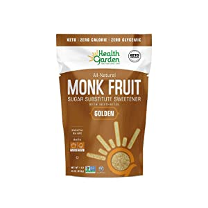 Health Garden Monk Fruit Sweetener, Golden - Non GMO - Gluten Free - Sugar Substitute - Kosher - Keto Friendly (1 lb x 2)